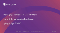 FVS Forum: Managing the Professional Liability Risk Impact of a Worldwide Pandemic
