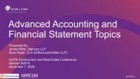 Advanced Accounting and Financial Statement Topics