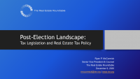 Post-Election Landscape:  Tax Legislation and Real Estate Tax Policy