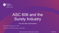 ASC 606 and the Surety Industry One Year after Implementation