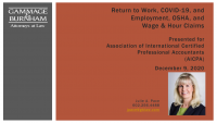 Return to Work, COVID-19, and Employment, OSHA, and Wage & Hour Claims