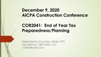 End of Year Tax Preparedness/Planning