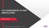 Tax Consequences of Debt Modifications