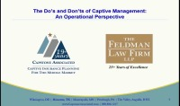 Facts & Operational Issues in the Management & Administration of Captive Insurers