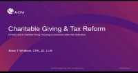 Charitable Giving after Tax Reform
