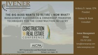 Succession and Continuity Planning for Contractors - Cradle to Grave