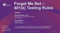 Forget Me Not - 401(k) Testing Rules