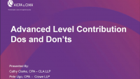 Advanced Level Contributions Do's and Don'ts