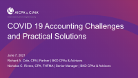 COVID-19 Accounting Challenges and Practical Solutions