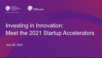 ENG21ACCEL. Investing in Innovation: AICPA/CPA.com 2021 Startup Accelerators