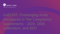 Challenging Areas Introduced in The Compliance Supplements - 2020, 2020 Addendum, and 2021 (Repeated in Session 2117)
