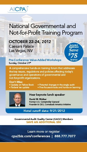 AICPA National Governmental and Not-for-Profit Training Program 2012