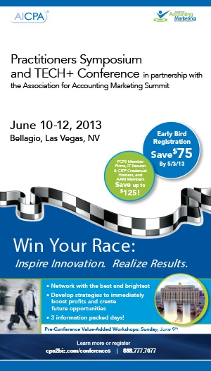 AICPA Practitioners Symposium, AICPA Tech+ Conference and 2013 AAM Summit