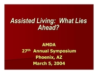 Assisted Living:  What Lies Ahead?