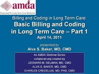 Billing and Coding in Long Term Care Basics, Part 1