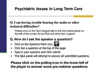 Psychiatric Issues in Long Term Care