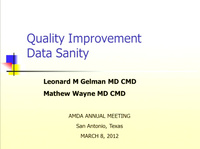 Data Sanity: The Effective Use of Statistical Process Control in the Nursing Home