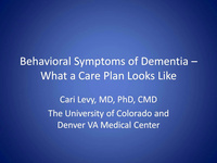 Non Pharmacologic Management of Behavior (What a Care Plan Looks Like)