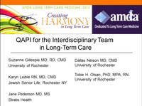 Developing the Skills for Quality Assurance Performance Improvement (QAPI) in Long-Term Care