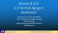 Is It Normal Aging or Dementia?