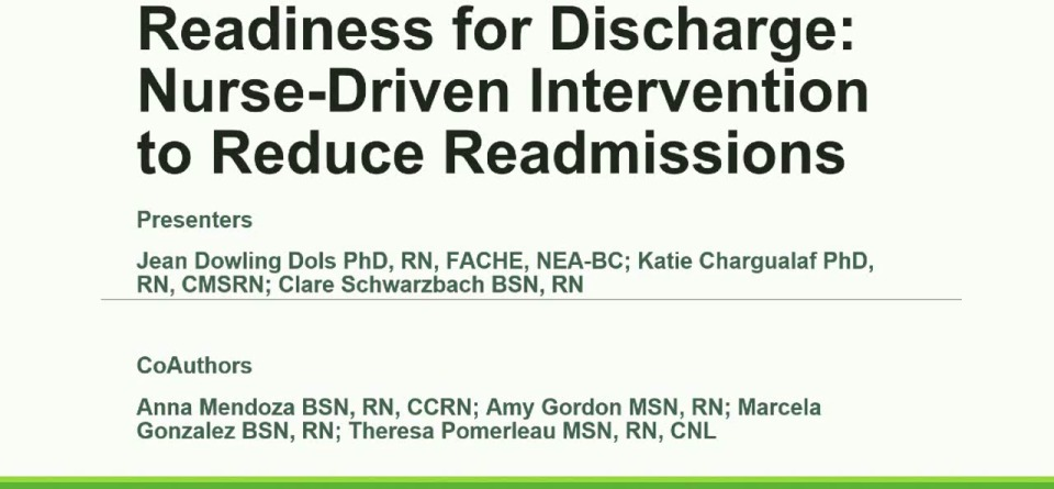 Readiness for Discharge: Nurse-Driven Intervention to Reduce Readmissions