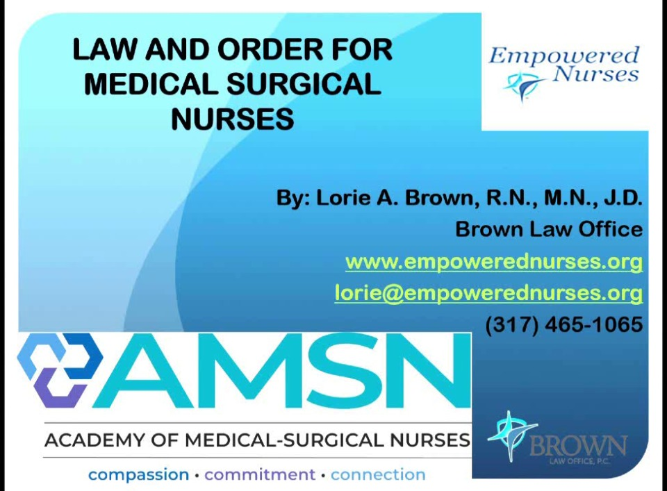 Law and Order for Medical-Surgical Nurses