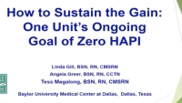 How to Sustain the Gain: One Unit's Ongoing Goal of Zero HAPI