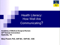 Health Literacy: How Well Are We Communicating?