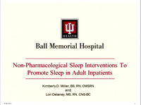 Non-Pharmacologic Nursing Interventions to Promote Sleep in Older Adult Inpatients