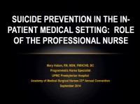 Suicide Prevention in the Inpatient Medical Setting: Role of the Professional Nurse