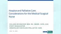 Hospice and Palliative Care Considerations for the Medical-Surgical Nurse