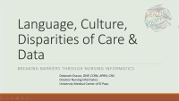 Language, Culture, Disparities of Care: Breaking Barriers & Nursing Informatics Synergy Model
