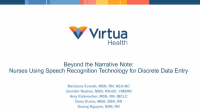Beyond the Narrative Note: Nurses Using Speech Recognition Technology for Discrete Data Entry