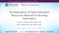 An Exploration of Open Education Resources Relevant to Nursing Informatics