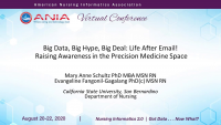 Big Data, Big Hype, Big Deal: Life after Email / Raising Awareness in the Precision Medicine Space