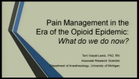 Pain Management in the Era of the Opioid Epidemic: What Do We Do Now?