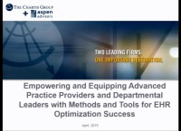Empowering and Equipping Advanced Practice Providers and Departmental Leaders with Methods and Tools for EHR Optimization Success