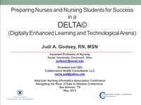 Preparing Nurses and Nursing Students for Success in a DELTA (Digitally Enhanced Learning and Technological Arena) icon