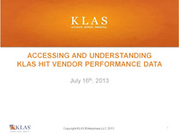 Accessing and Understanding KLAS HIT Vendor Performance Data