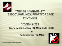 """Who Ya Gonna Call? 33DOC"": Hotline Support for Providers"