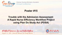 Trouble with the Admission Assessment: A Rapid Nurse Efficiency Workflow Project using Plan Do Study Act (PDSA)