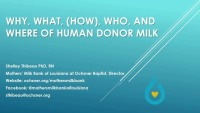 Why, What, Who, and Where of Human Donor Milk