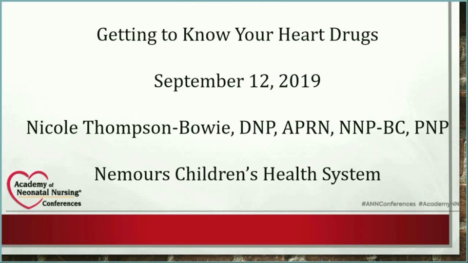 Neonatal Cardiac Pharmacology: Getting to Know Your Heart Drugs