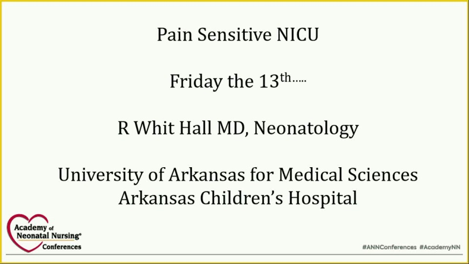 The Pain Sensitive NICU