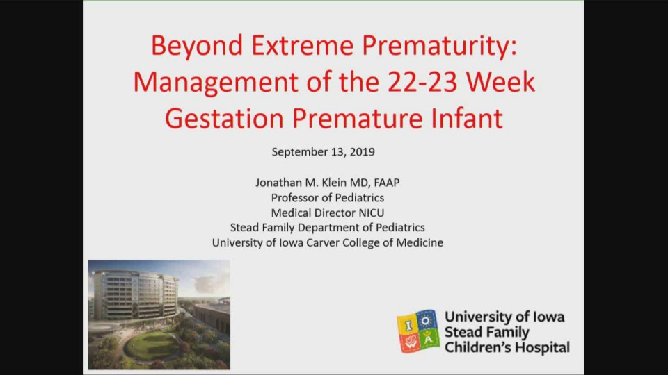 Beyond Extreme Prematurity: Management of the 22-23 Weeks' Gestational Age Premature Infant
