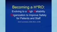 Becoming a H*RO: Evolving to a High Reliability Organization to Improve Safety for Patients and Staff