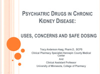 Psychiatric Drugs in Chronic Kidney Disease: Uses, Concerns, and Safe Dosing