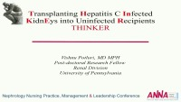 Transplanting Hepatitis C Positive Kidneys into Hepatitis C Negative Patients