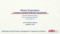 Disaster Preparedness: Lessons Learned from the Unexpected
