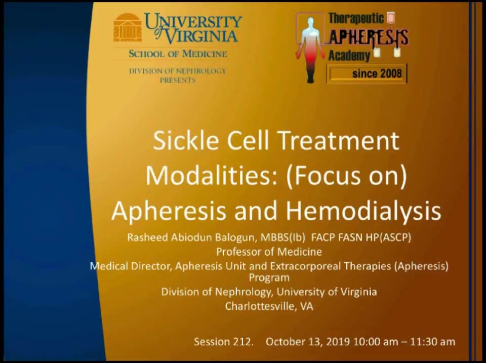 Sickle Cell Treatment Modalities: Apheresis and Hemodialysis
